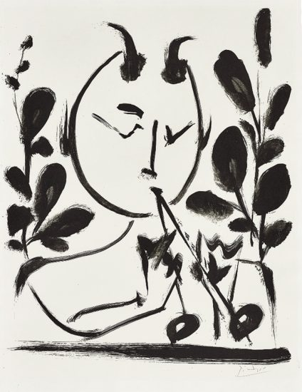 Pablo Picasso Lithograph, Faune aux Branchages (Faun with Branches), 1948