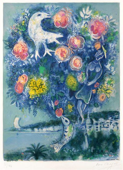 Marc Chagall Lithograph, La Baie des Anges au Bouquet de Roses (Angel Bay with a Bouquet of Roses), 1967