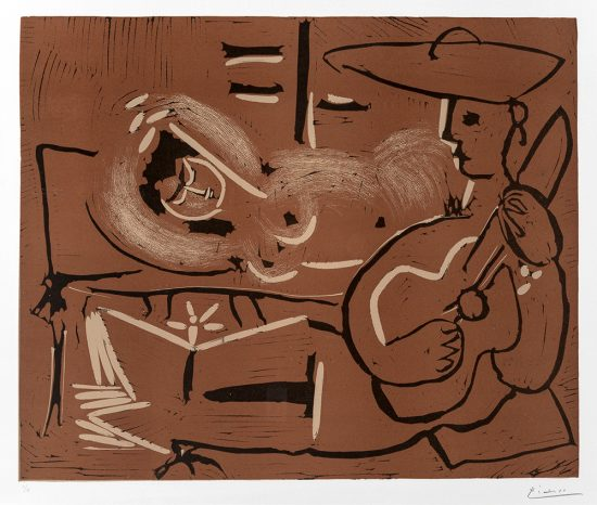 Pablo Picasso Linocut, Femme couchée et guitariste (Lying woman and guitar), 1959