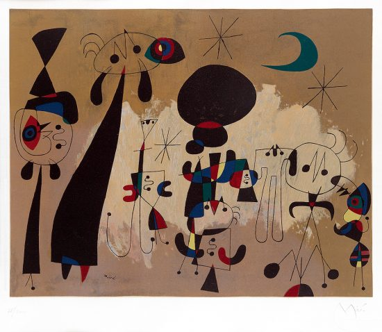 Joan Miró Lithograph, Femme, Lune, Etoile (Woman, Moon, Stars), 1963