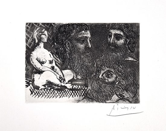 Pablo Picasso Etching, Femme nue assise et Trois Têtes barbues (Seated Nude Woman and Three Bearded Heads), from the Vollard Suite, 1934