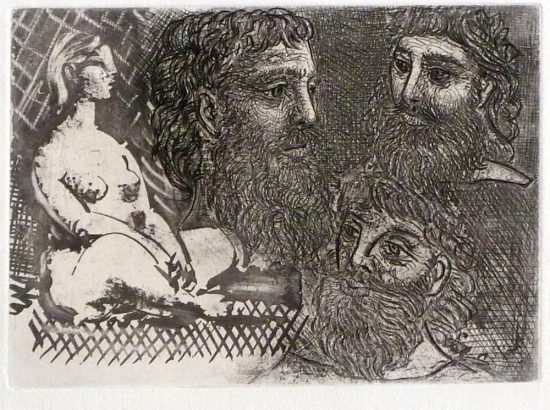 Pablo Picasso Lithograph, Femme nue assise et Trois Têtes barbues (Seated Nude Woman and Three Bearded Heads), from the Vollard Suite, 1934