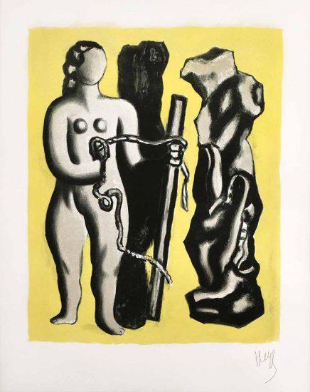 Fernand Léger Lithograph, Femme sur fond jaune (Woman Against Yellow Background), 1952