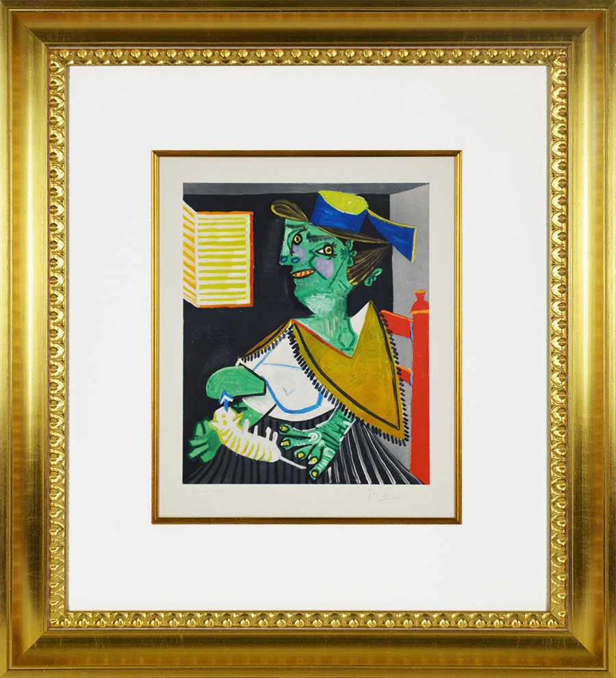 Pablo Picasso, Femme Verte Au Chat Green Woman With Cat -6992