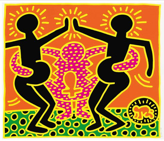 Keith Haring Screen Print, Fertility Untitled 5, from the Fertility Suite, 1983