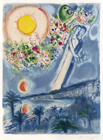 Marc Chagall Lithograph, Fiancés dans le ciel de Nice (Fiancés in the Sky at Nice) 1967
