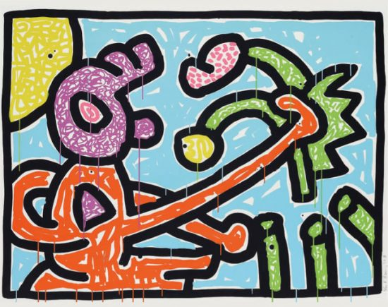 Keith Haring Silkscreen, Flowers (Plate 1), 1990