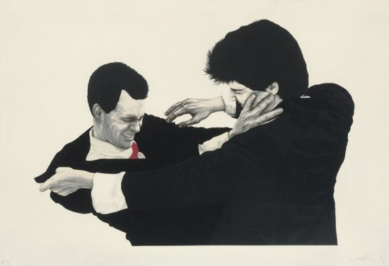 Robert Longo Lithograph, Frank & Glenn, from Men in the Cities, 1991