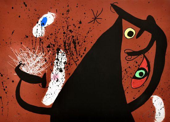 Joan Miró Lithograph, Frappeause de Silex (Flint Strike), 1973