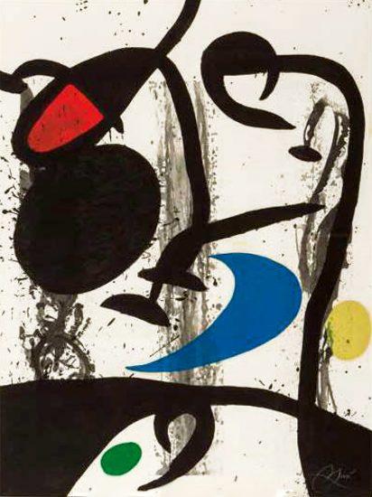Joan Miró Etching, Grand Triptyque Noire, 1969