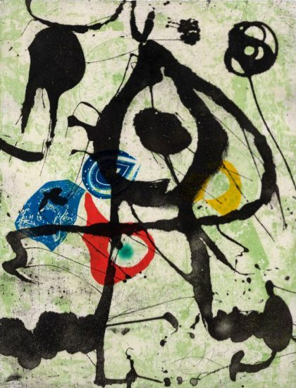 Joan Miró Lithograph, Grans Rupestres VI (Large Cave Paintings VI), 1979