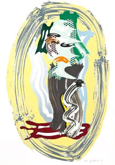 Roy Lichtenstein Lithograph, Green Face, from Brushstroke Figures Series, 1989