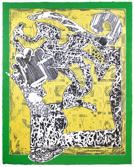Frank Stella Lithograph, Green Journal, 1985