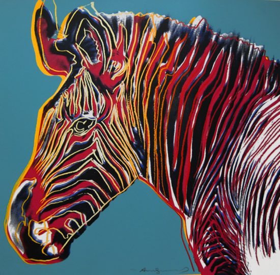 Andy Warhol Screen Print, Grevy's Zebra from Endangered Species Series, 1983
