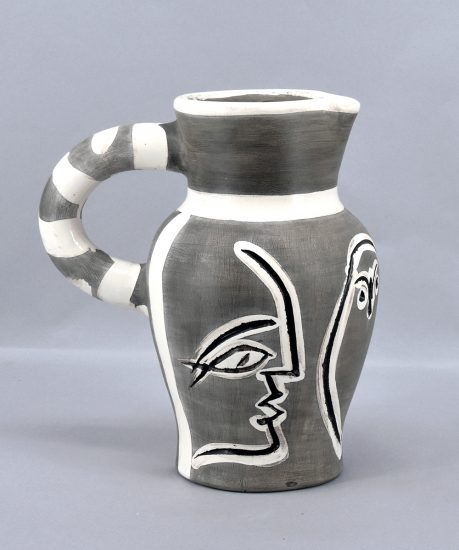 Pablo Picasso Ceramic, Grey Engraved Pitcher, 1954