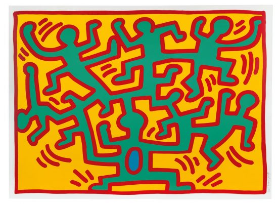 Keith Haring Screen Print, Growing (Plate 2), 1988