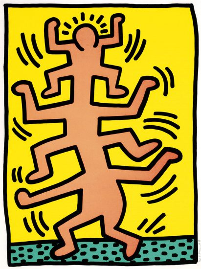 Keith Haring Screen Print, Growing (Plate 1), from the Growing Portfolio, 1988