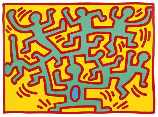 Keith Haring Screen Print, Growing (Plate 2), from the Growing Portfolio, 1988