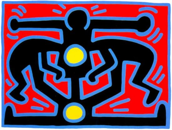 Keith Haring Screen Print, Growing (Plate 3), from the Growing Portfolio, 1988