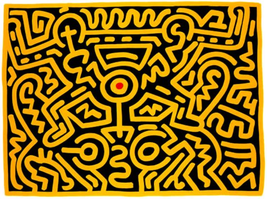 Keith Haring Screen Print, Growing (Plate 4), from the Growing Portfolio, 1988