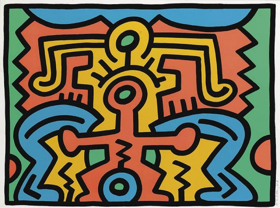Keith Haring Screen Print, Growing (Plate 5), from the Growing Portfolio, 1988