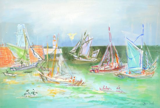 Jean Dufy Watercolor, Harbor, c. 1920