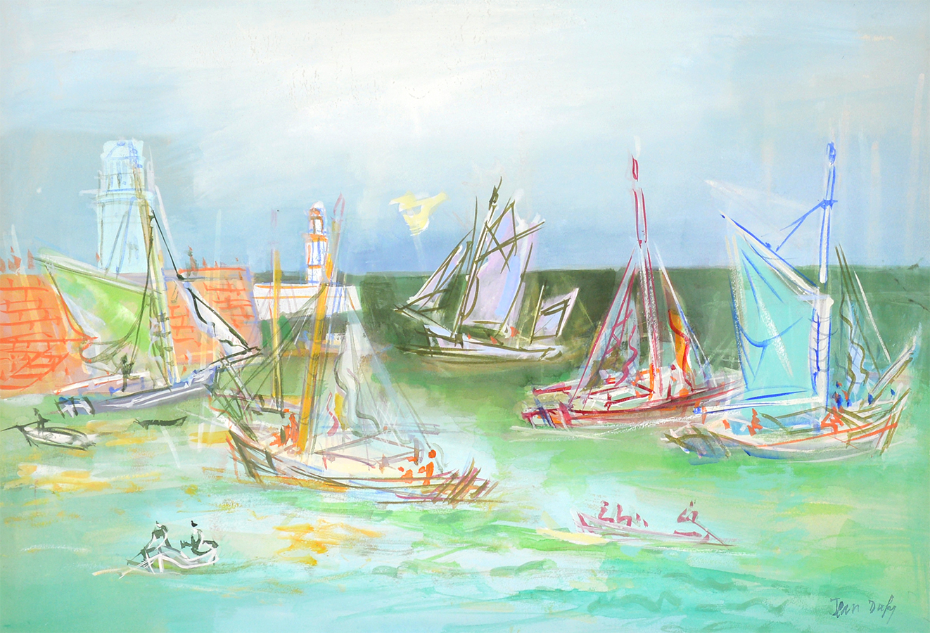 Jean Dufy watercolor Harbor c 1920 for sale (image 1)