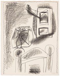 Pablo Picasso Lithograph, Hibou au Crayon (Owl in Crayon), 1947