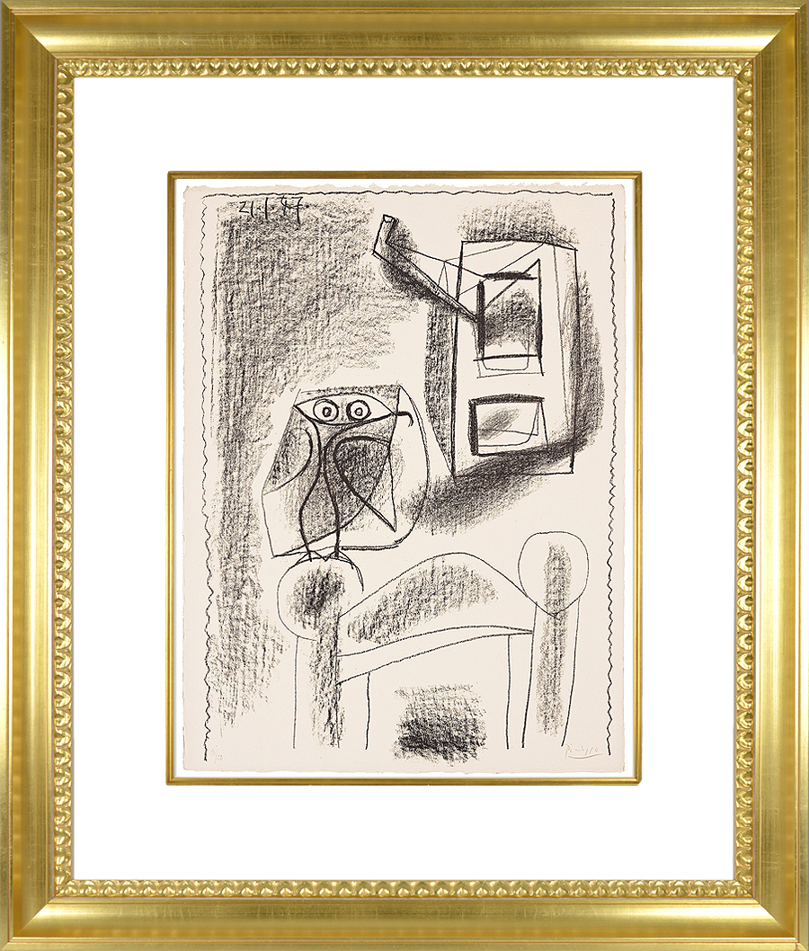 Pablo Picasso Lithograph Hibou au crayon 1947 frame