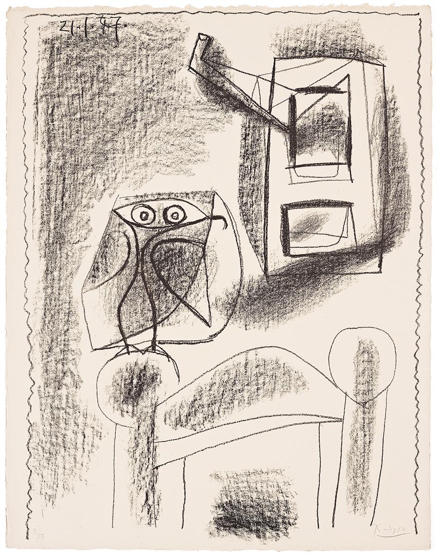 Pablo Picasso Lithograph Hibou au crayon 1947 for sale