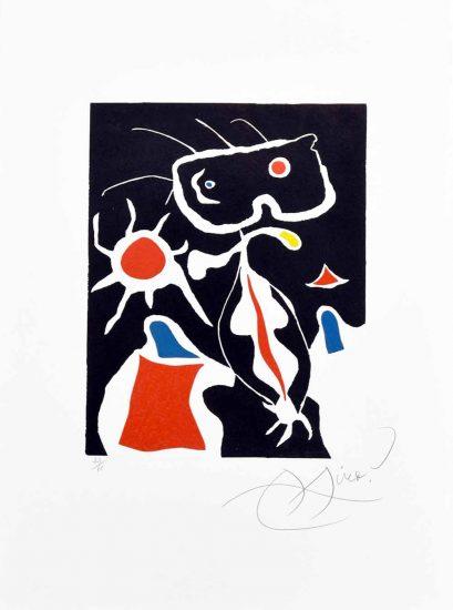 Joan Miró Linocut, Hommage a San Lazzaro, Pl. 3, 1977