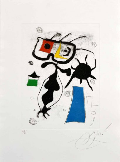 Joan Miró Lithograph, Hommage a San Lazzaro, Pl. 6, 1977