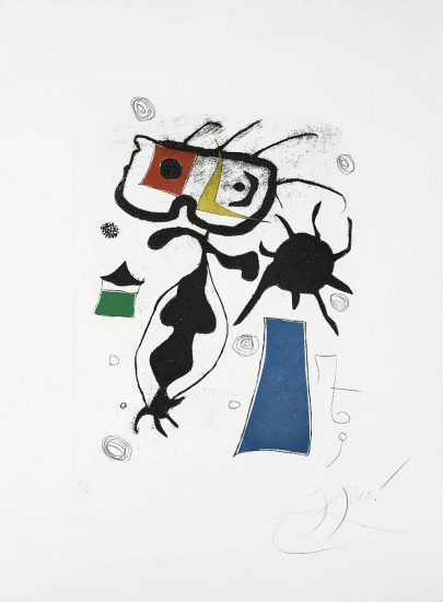 Joan Miró Etching, Hommage a San Lazzaro, Pl. 6, 1977