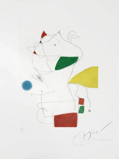 Joan Miró Aquatint, Hommage a San Lazzaro, Pl. 5, 1977