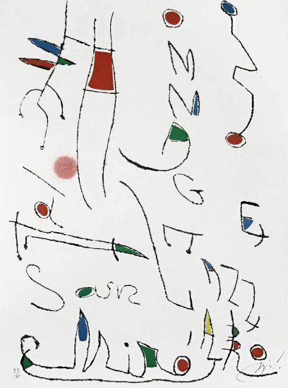 Joan Miró Etching, Hommage a San Lazzaro, Pl. 7, 1977