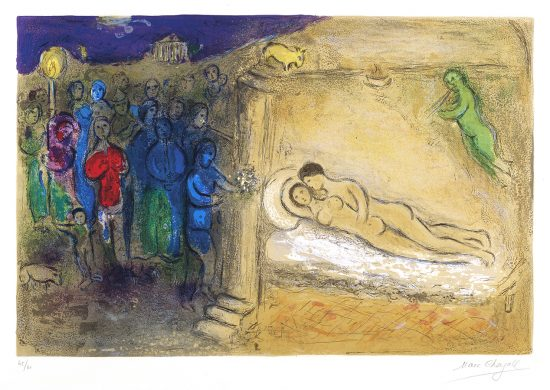Marc Chagall Lithograph, Hyménée (Hymen) from Daphnis and Chloé, 1961