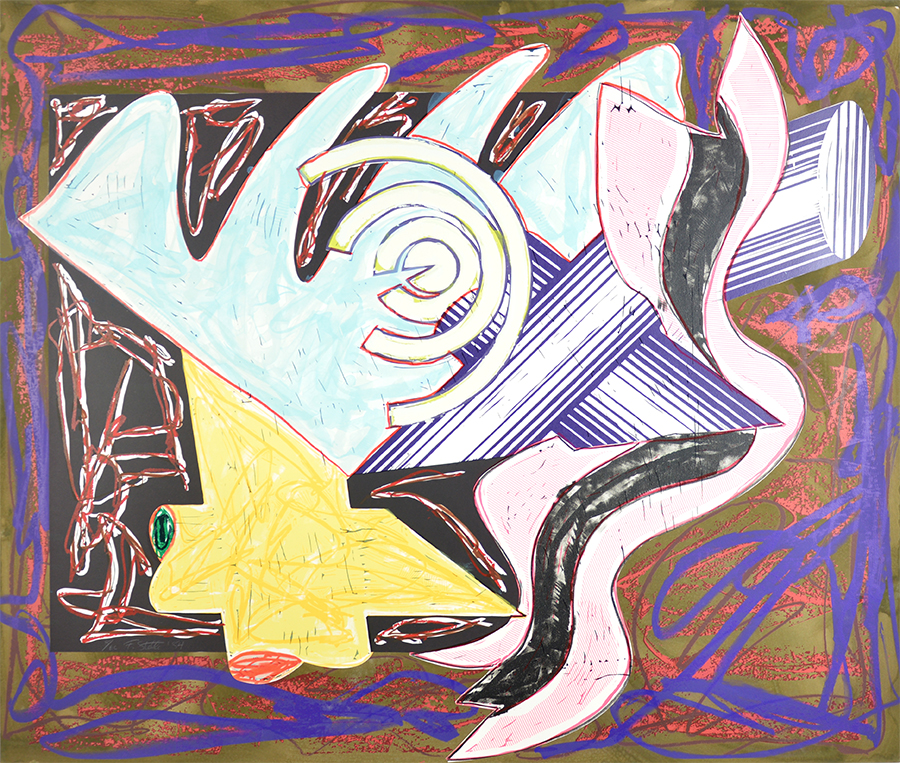 Frank Stella Lithograph A Hungry Cat Ate Up The Goat. 1984 for sale