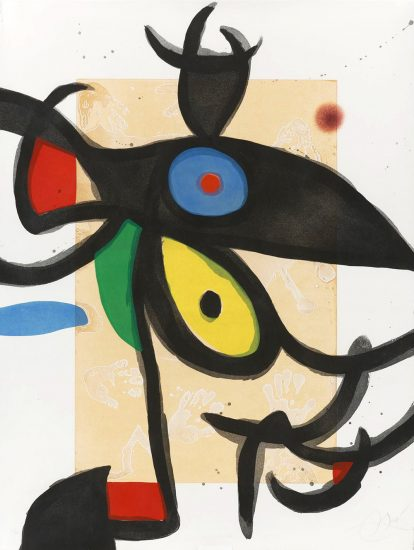 Joan Miró Etching, Inceste au Sahara, (Incest in the Sahara), 1975