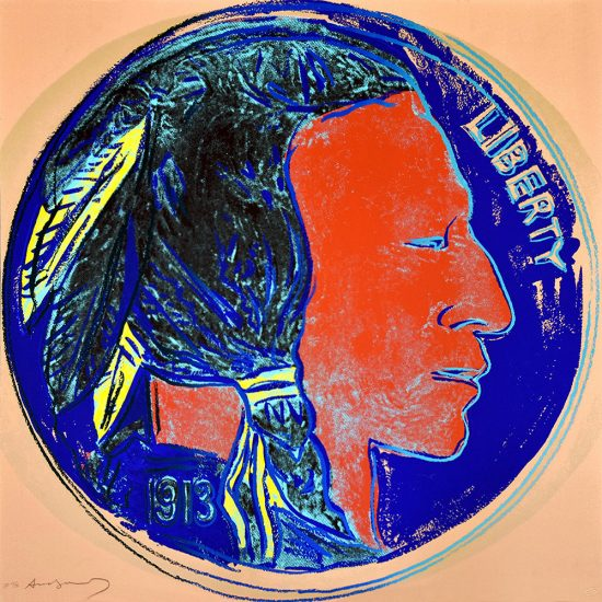 Andy Warhol Screen Print, Indian Head Nickel, from the Cowboys and Indians Series, 1986