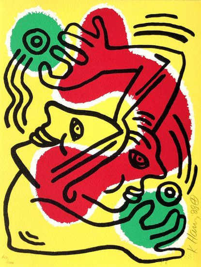 Keith Haring Lithograph, International Volunteer Day, 1988