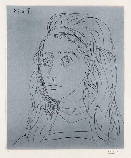 Pablo Picasso Linocut, Jacqueline, 1959, Bloch 923