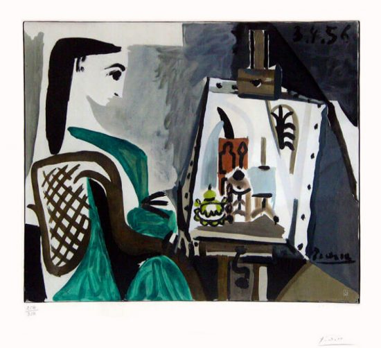 Pablo Picasso Lithograph, Jacqueline à l'Atelier (Jacqueline at the Easel), 1956