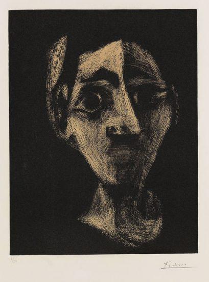 Pablo Picasso Linocut, Jacqueline au bandeau  (Jacqueline with Headband), 1962