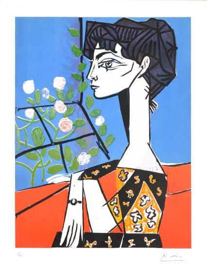 Pablo Picasso Lithograph, Femme au roses, 1956
