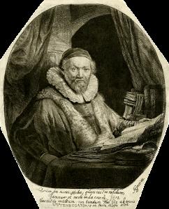 Rembrandt Etching, Jan Uytenbogaert, Arminian Preacher, 1635