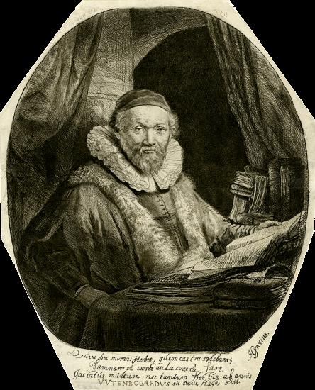 Rembrandt Lithograph, Jan Uytenbogaert, Arminian Preacher, 1635