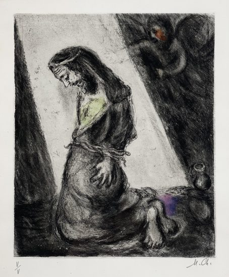 Marc Chagall Etching, Jeremiah in the Pit, from the Bible Series, 1958