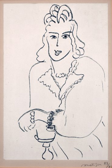 Henri Matisse Lithograph, Jeune Femme Coiffure Louis XV from Poèmes de Charles D'Orléans, 1942