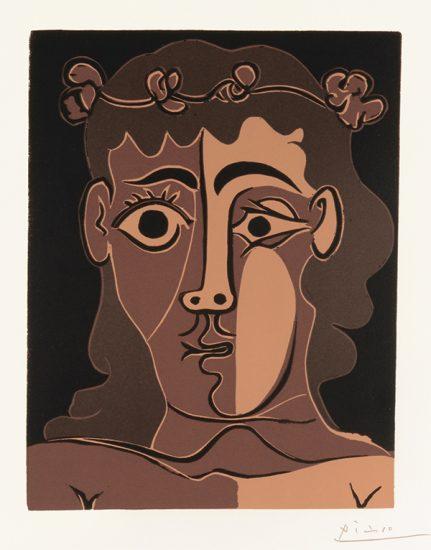Pablo Picasso Linocut, Jeune Homme couronné de feuillage (Young Man with a Crown of Vines), 1962
