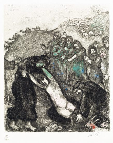 Marc Chagall Etching, Joseph and His Brothers (from the Bible Series), 1958